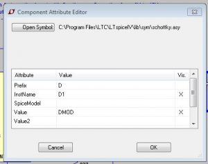 LTSpice - Component attribute editor dialog