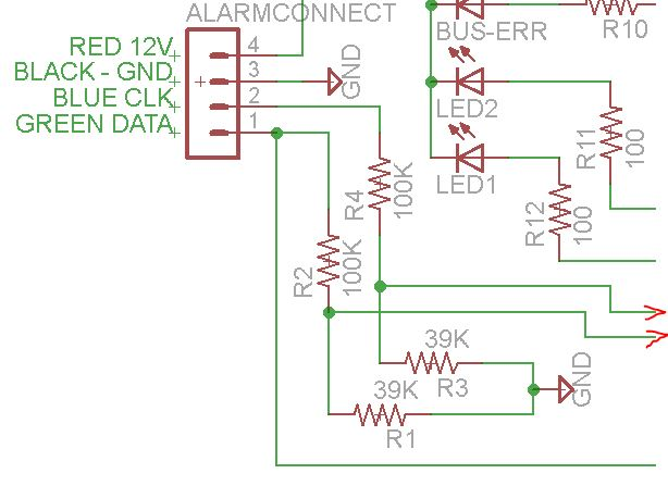 Remember that there is already a pull-up someplace on the Keybus so that the voltage divider does not yield the voltage you expect.