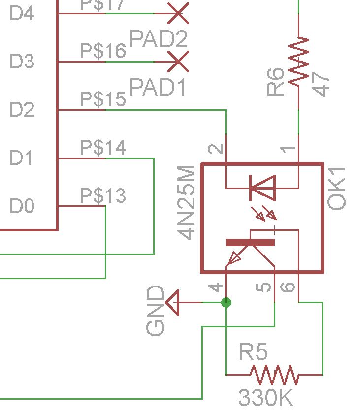 D2 then is always configured as an output. Set to 1, it allows the data line to float, set to 0, it pulls down the data line. Note the additional 330K ...